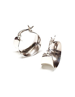 [925Silver] 925 Silver Wide Wave Hoops