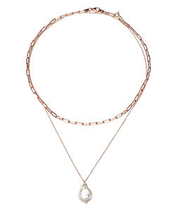 [925Silver 바로크진주] Rose Gold Tone  Choker Broque Pearl Laryered 블랙뮤즈