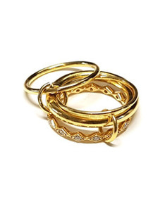 [4Pcs Set] 925Silver Gold Layered Rings