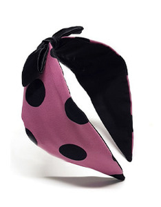 Pink Dot Black Ribbon Hairband