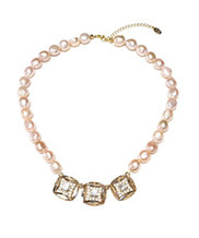 [담수진주] Crystal Square Pink Pearl Necklace