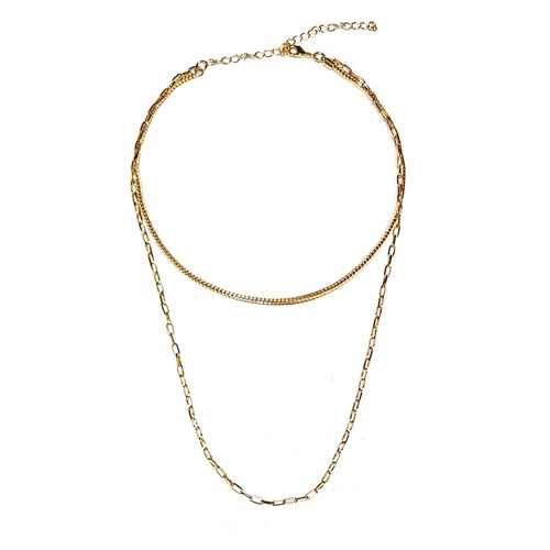 Gold Plated Double Chain Layered